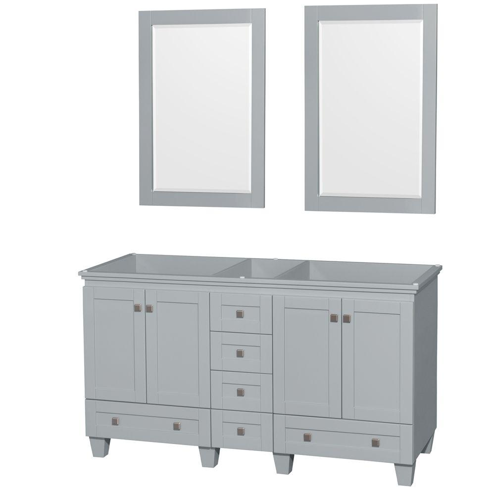 Acclaim 60 in. Vanity Cabinet with Mirror in Oyster Gray