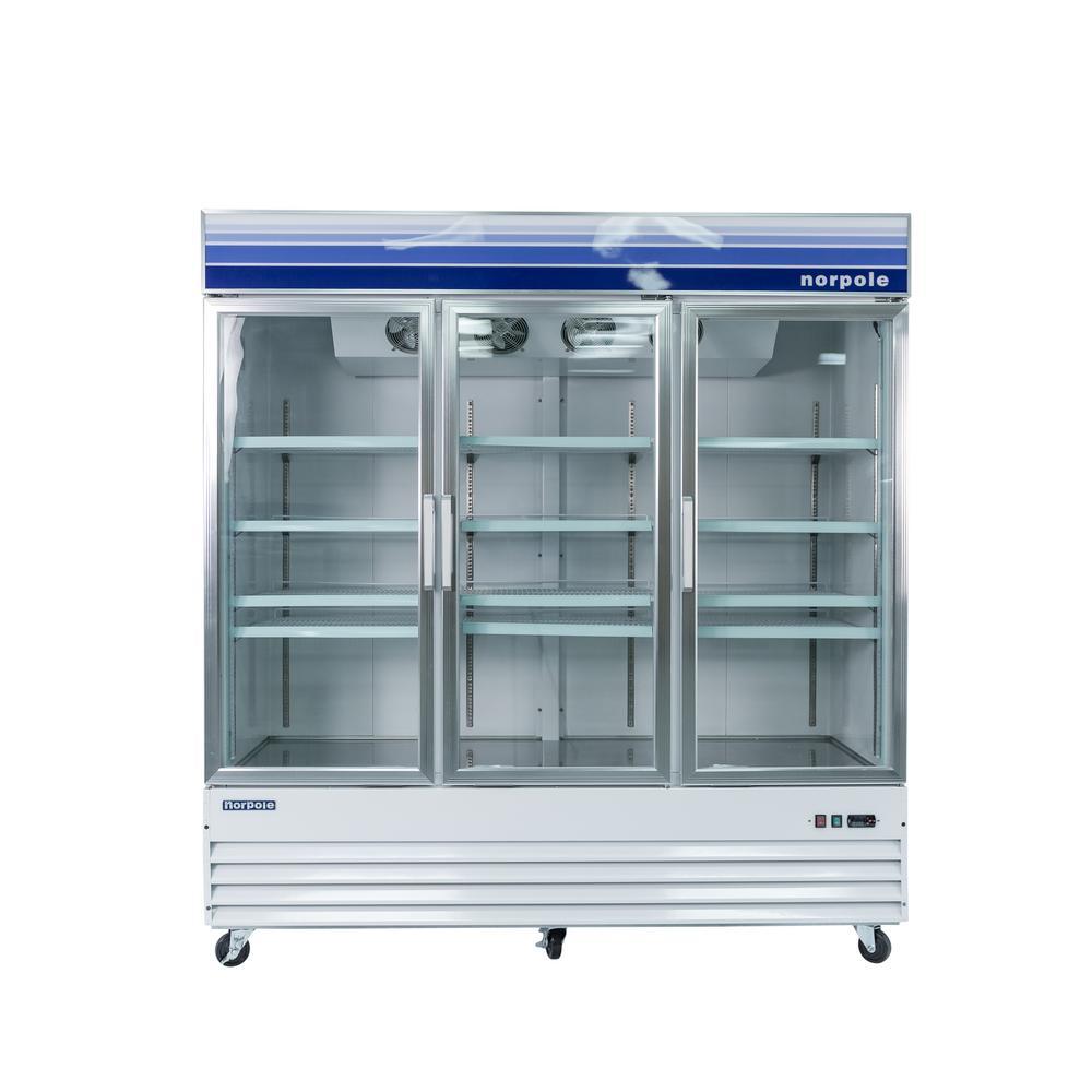 Norpole 78 in w 53 cu ft 3 glass door reach in - Glass door refrigerator for home ...