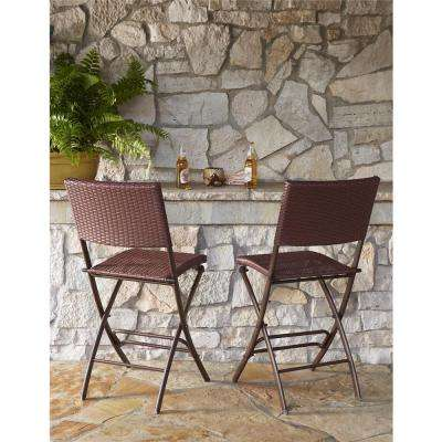 Delray Transitional Steel Brown & Red Woven Wicker High Top Folding Patio Bistro (Set of 2)