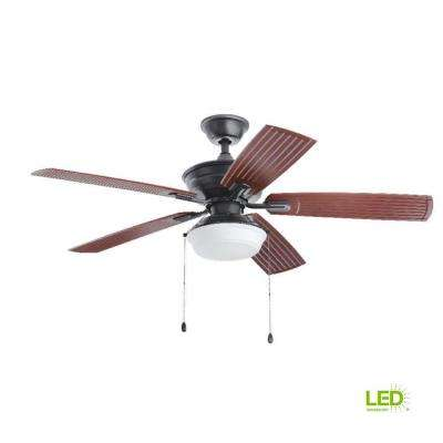 Marshlands 52 in. LED Indoor/Outdoor Natural Iron Ceiling Fan with Light Kit
