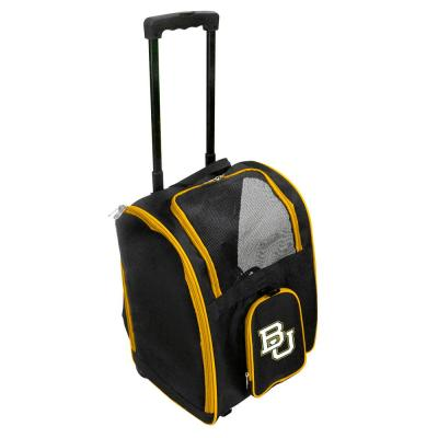 Denco NCAA Baylor Bears Pet Carrier Premium Bag with wheels in Yellow, Team Color