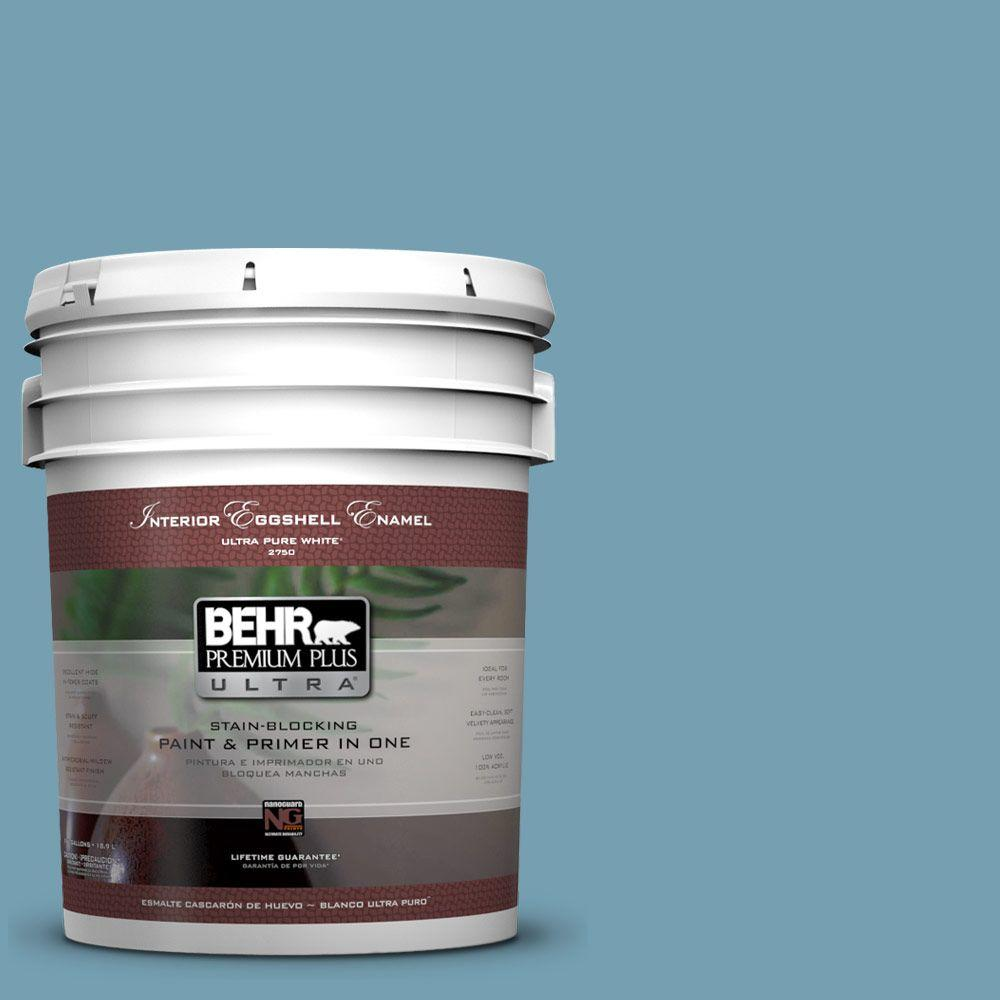 BEHR Premium Plus Ultra 5-gal. #S480-4 Saga Blue Eggshell Enamel Interior Paint