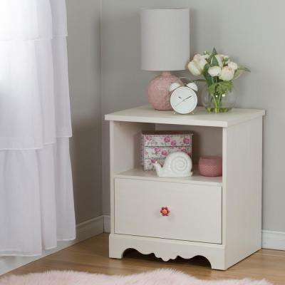 Lily Rose 1-Drawer White Wash Nightstand