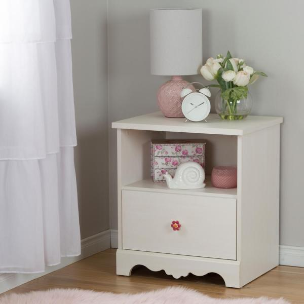 South Shore Lily Rose 1-Drawer White Wash Nightstand 10076