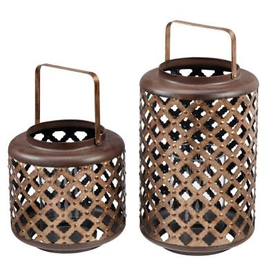 Home Decorators Collection Antiqued Bronze Lattice Candle Hanging or Tabletop Lantern (Set of 2)