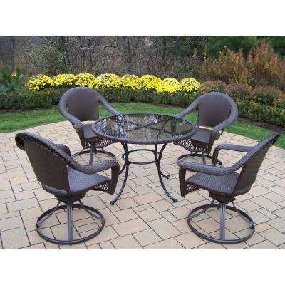 Elite 5-Piece Wicker Outdoor Dining Set with Oatmeal Cushions