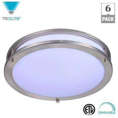 12 in. 15-Watt Brushed Nickel White Integrated LED Dimmable Ceiling Flush Mount Fixture (6-Pack)