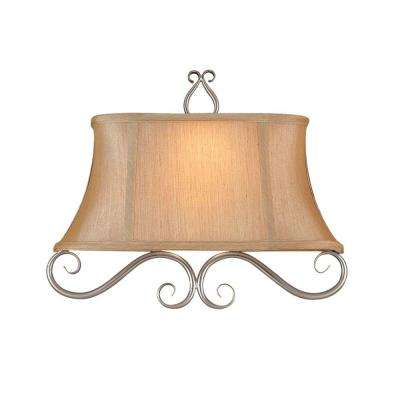 2-Light Satin Nickel Wall Sconce with Silver Tone Shade