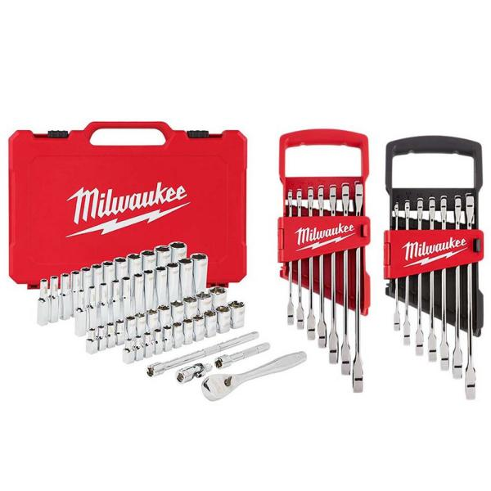 1/4 in. Drive SAE/Metric Ratchet/Socket/ Combination Ratcheting Wrench Mechanics Tool Set (64-Piece)