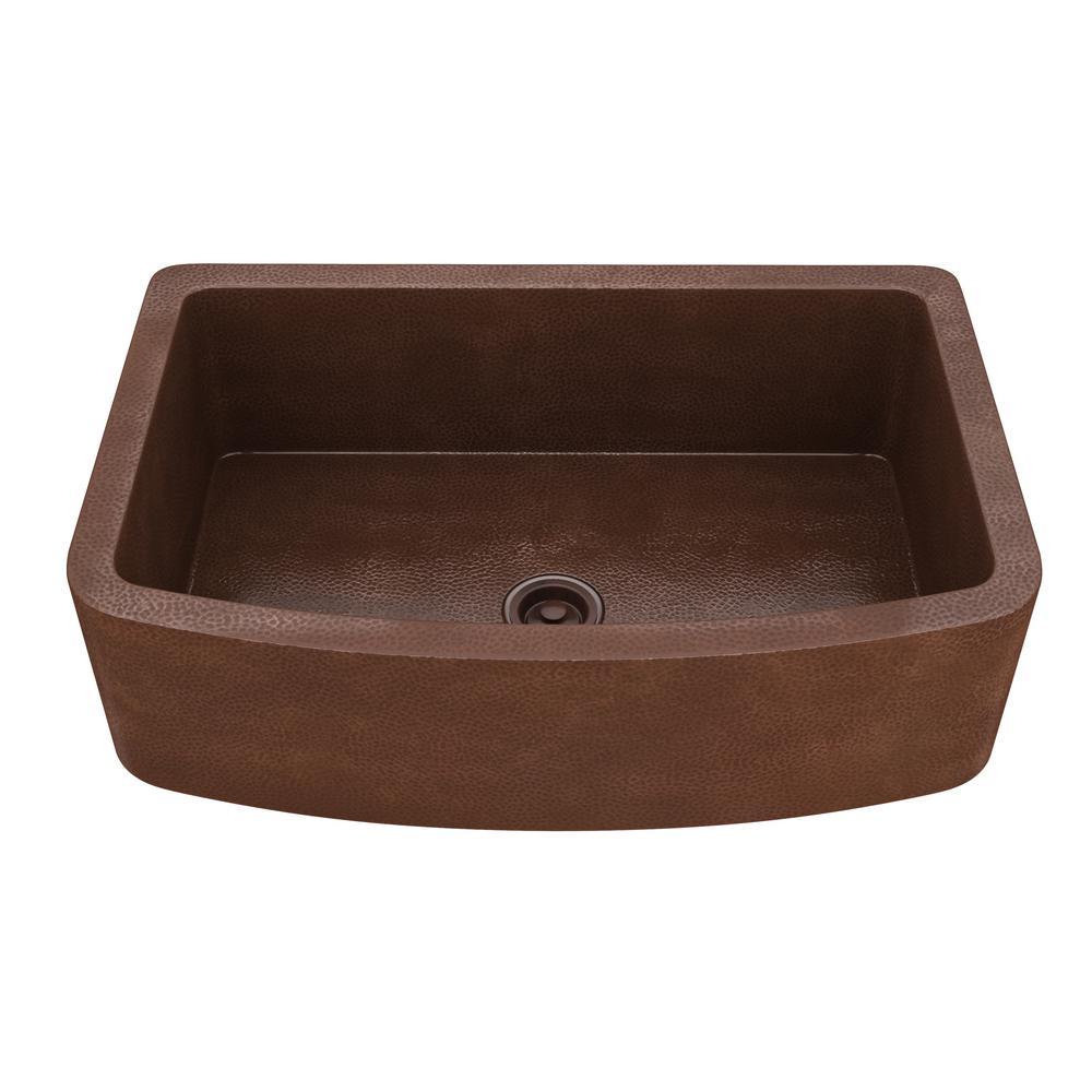 Terra Farmhouse Handmade Copper 33 in. Single Bowl Kitchen Sink in Hammered Antique Copper