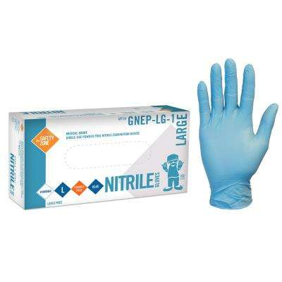 Large Thick Blue Nitrile Exam Gloves Powder-Free Bulk 1,000 (10-Packs of 100-Count)
