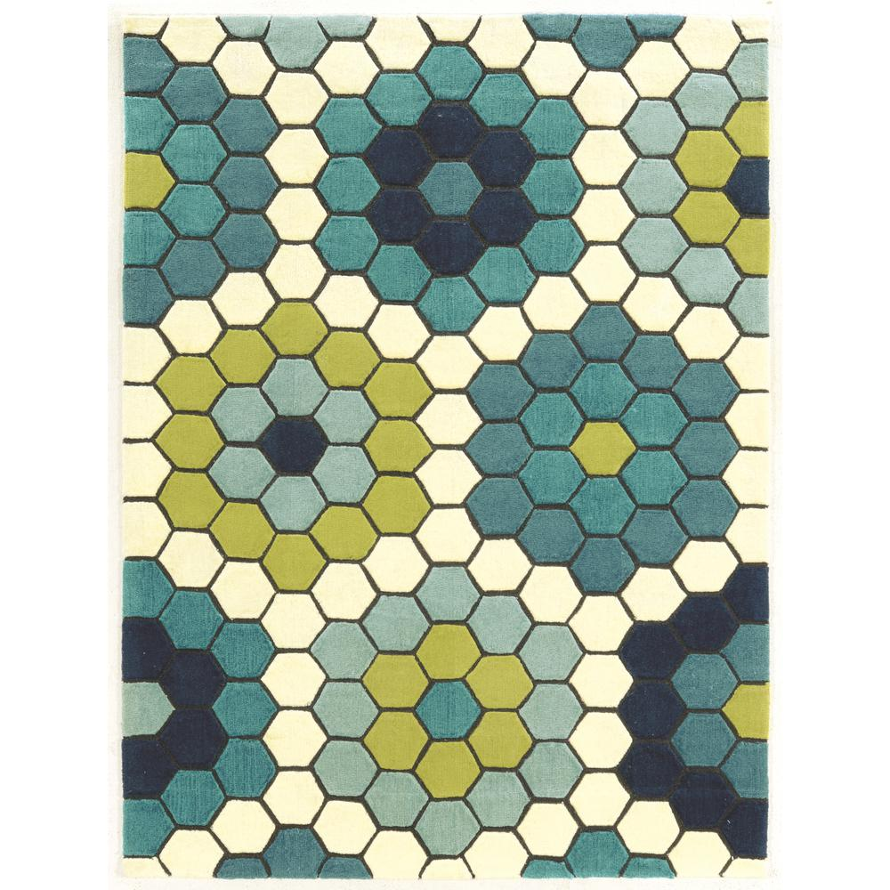 Linon Home Decor Le Soliel Tiles Blues And Green 2 Ft X 3