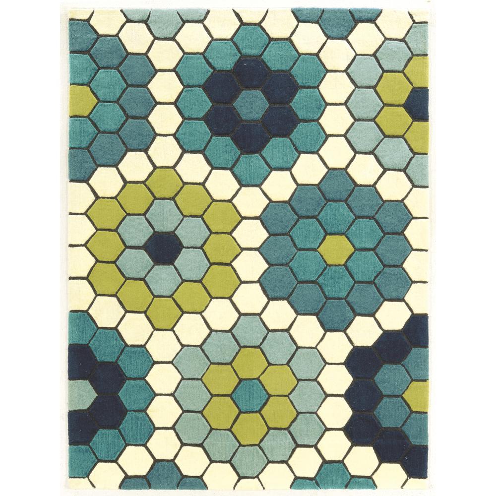 Le Soliel Tiles Blues And Green 2 Ft. X 3 Ft. Area Rug · Linon Home Decor  ...
