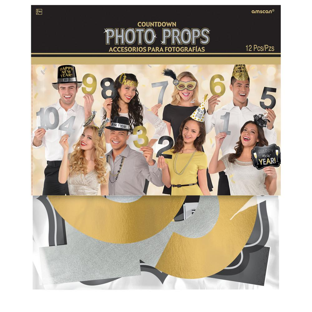 New Year's Countdown Photo Props (12-Count, 2-Pack)