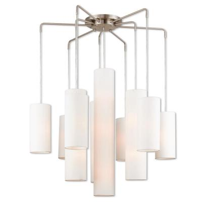 Strathmore 9-Light Brushed Nickel Foyer Chandelier with Off-White Fabric Outside & White Fabric Inside Hardback Shades