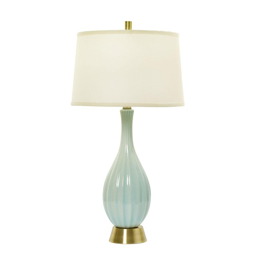 Attirant Spa Blue Crackle And, Silver Ceramic Table Lamp With Ripple Design