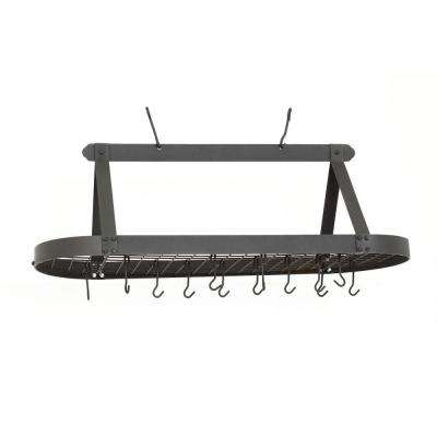 15.5 in. x 19 in. x 48 in. Oval Graphite Pot Rack with 24 Hooks