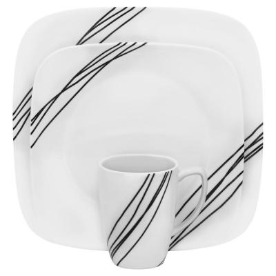 Square 16-Piece Simple Sketch Dinnerware Set