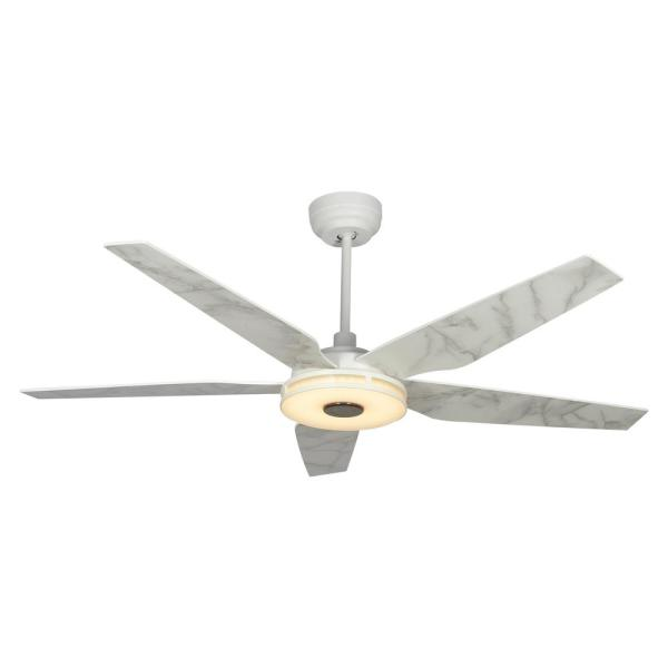 Explorer 52 in. Integrated LED Indoor White Smart Ceiling Fan with Light Kit