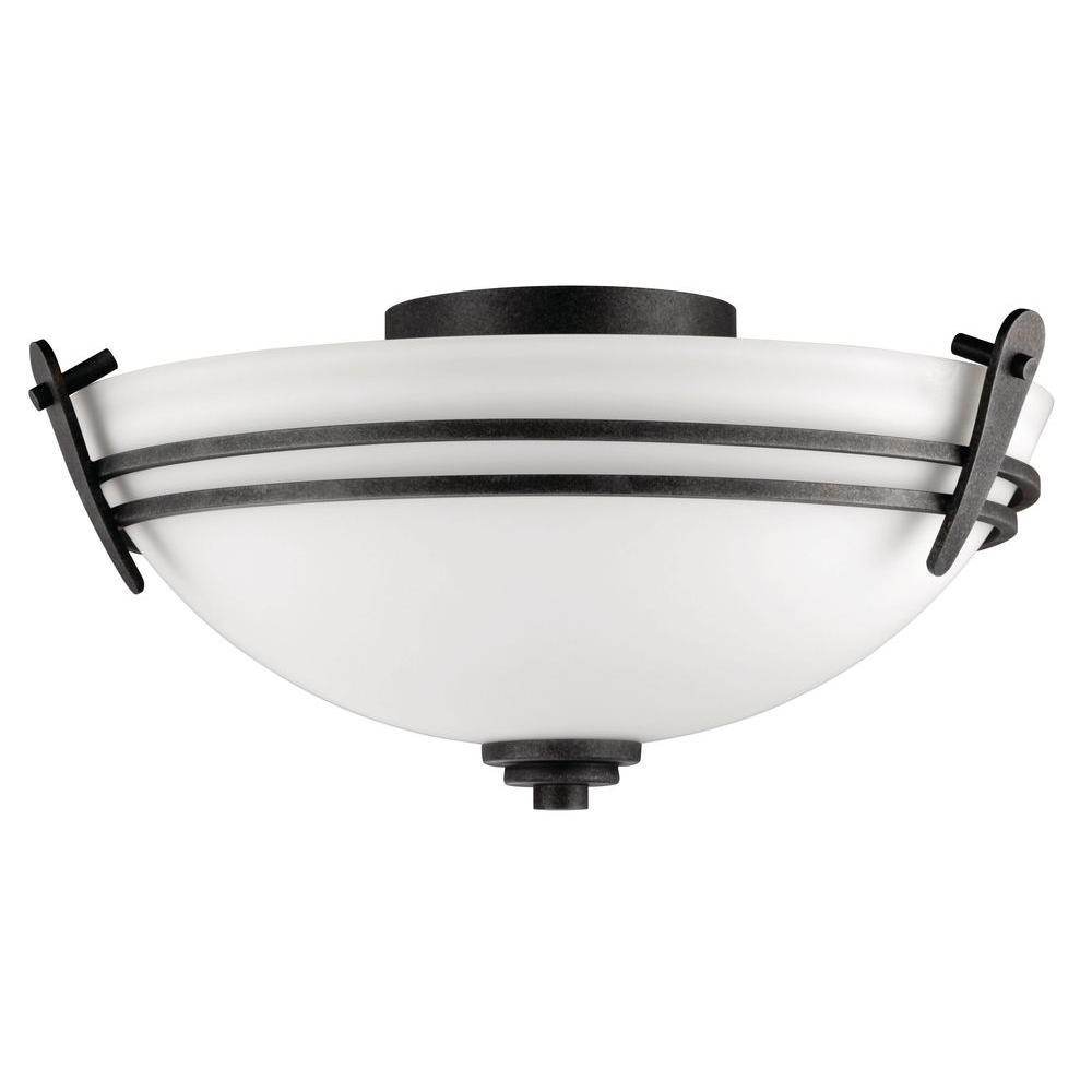 Vintage Round Fluorescent Light Fixture: Lithonia Lighting Adari 1-Light Aged Iron Fluorescent