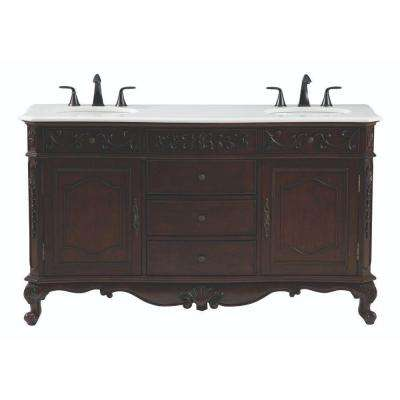 Winslow 60 in. W Double Bath Vanity in Antique Cherry with Marble Vanity Top in White
