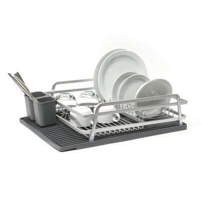 Single Tier Aluminum Dish Rack with Self Draining Silicone Mat in Dark Grey