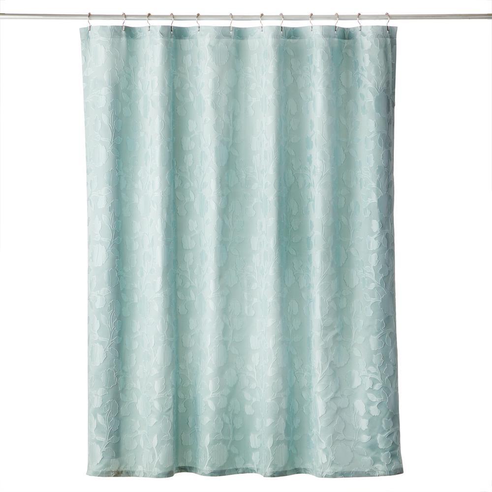 Leaf Silhouette 72 in. Shower Curtain in Aqua