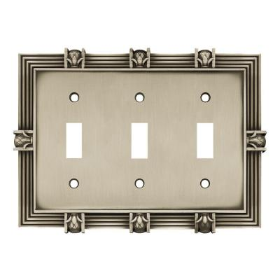 Pewter 3-Gang 3-Toggle Wall Plate (1-Pack)