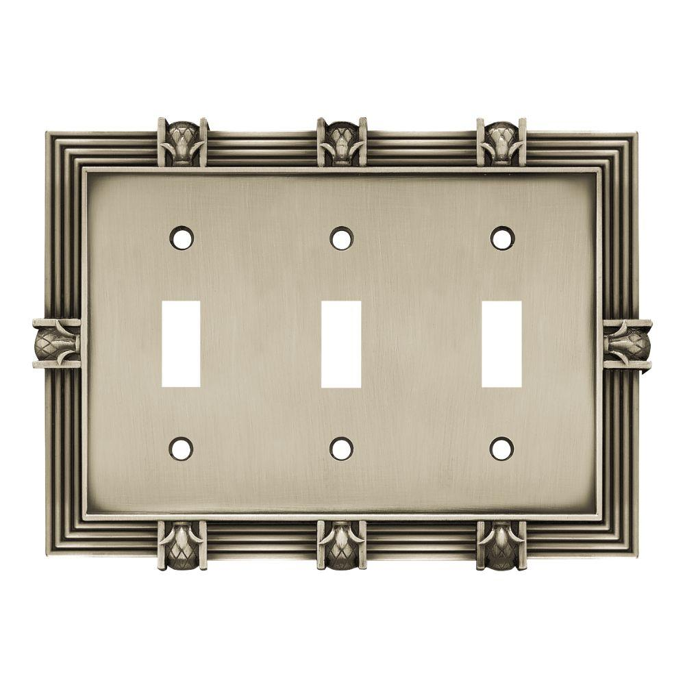 Liberty Pineapple Decorative Triple Switch Plate, Brushed Satin Pewter
