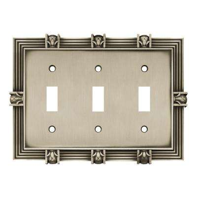 Pineapple Decorative Triple Switch Plate, Brushed Satin Pewter