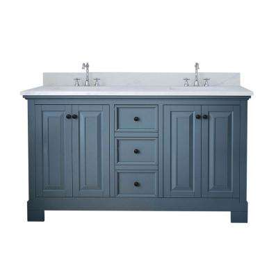 Richmond 60 in. W x 22 in. D Double Vanity in Gray with Marble Vanity Top in White with White Basin