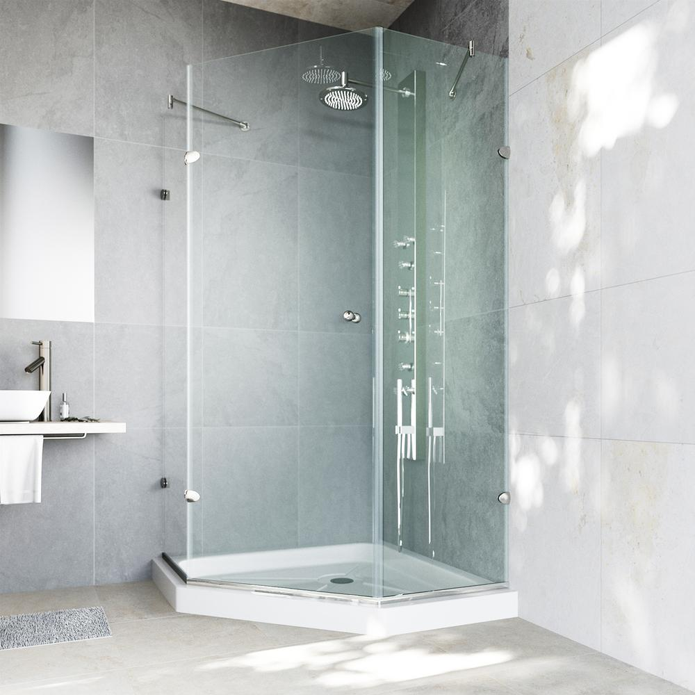 VIGO Verona 40.25 in. x 76.75 in. Semi-Framed Neo-Angle Shower Door in Brushed Nickel with Clear Glass