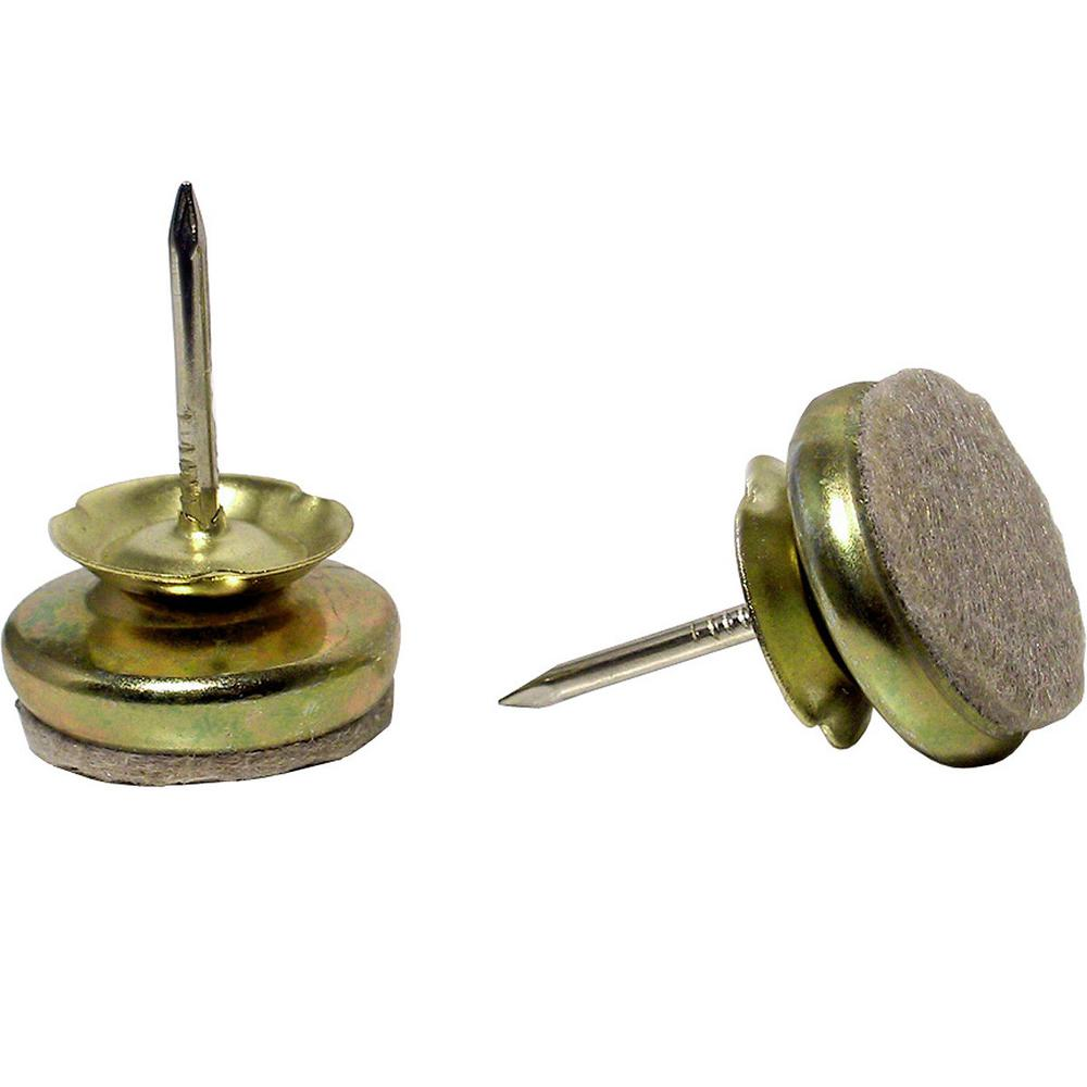 1-1/3 in. Beige and Brass Base Nail-on Glides (4-Pack)