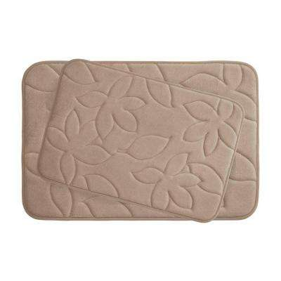 Blowing Leaves 17 in. x 24 in./ 20 in. x 34 in. 2-Piece Memory Foam Bath Mat Set in Linen