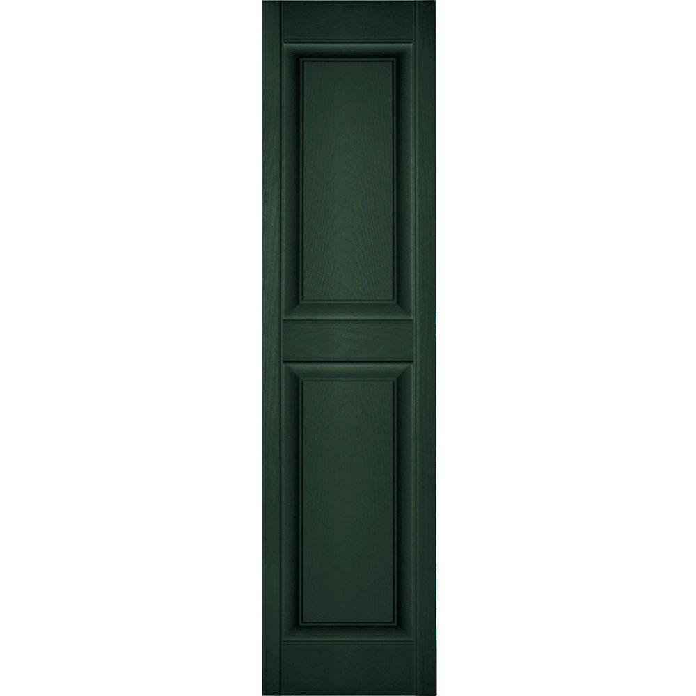 Ekena Millwork 18 in. x 80 in. Lifetime Vinyl Custom 2 Equal Raised Panel Shutters Pair Midnight Green
