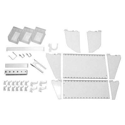 1 in. Vertical White Slotted Metal Pegboard Workstation Accessory Kit