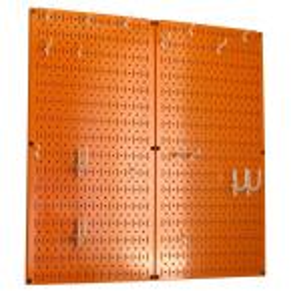 Wall Control Kitchen Pegboard 32 in. x 32 in. Metal Peg Board Pantry Organizer Kitchen Pot Rack Orange Pegboard and White Peg Hooks