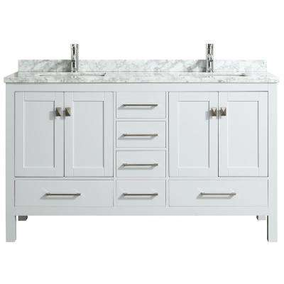 London 60 in. x 18 in. Transitional White bathroom vanity with white Carrara marble and double Porcelain Sinks