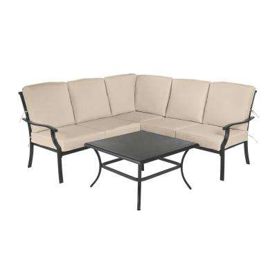 Redwood Valley Black 4-Piece Steel Outdoor Patio Sectional Sofa Set with Sunbrella Beige Tan Cushions