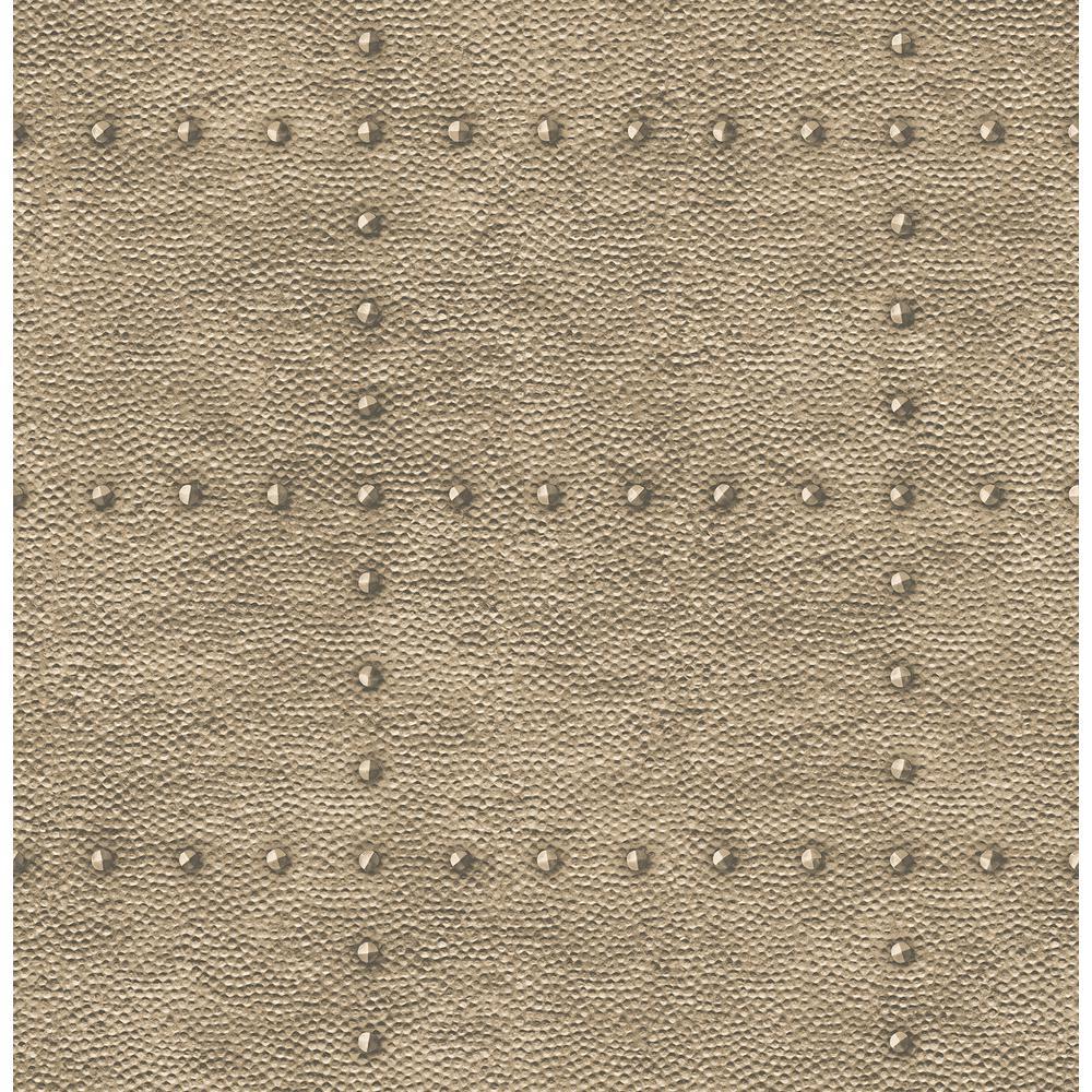 Goldberg Brown Hammered Metal Wallpaper
