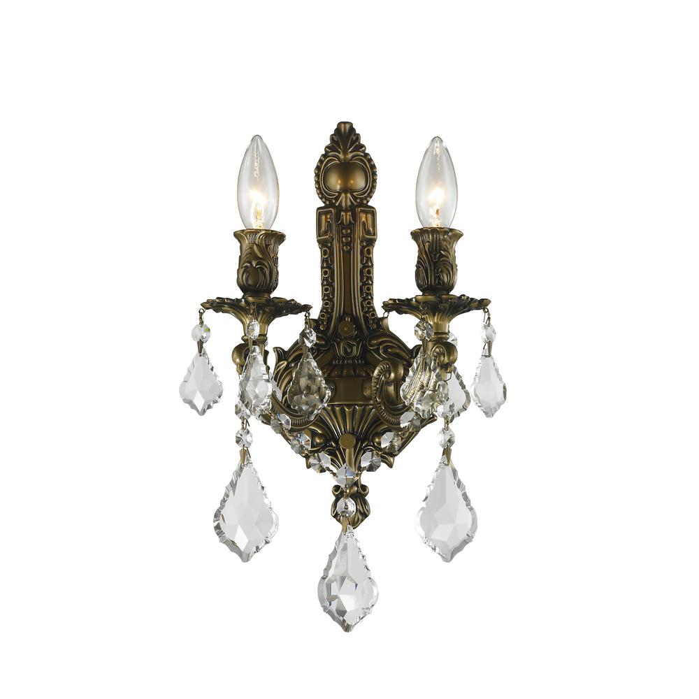 Worldwide Lighting Versailles 2 Light Antique Bronze Crystal Sconce