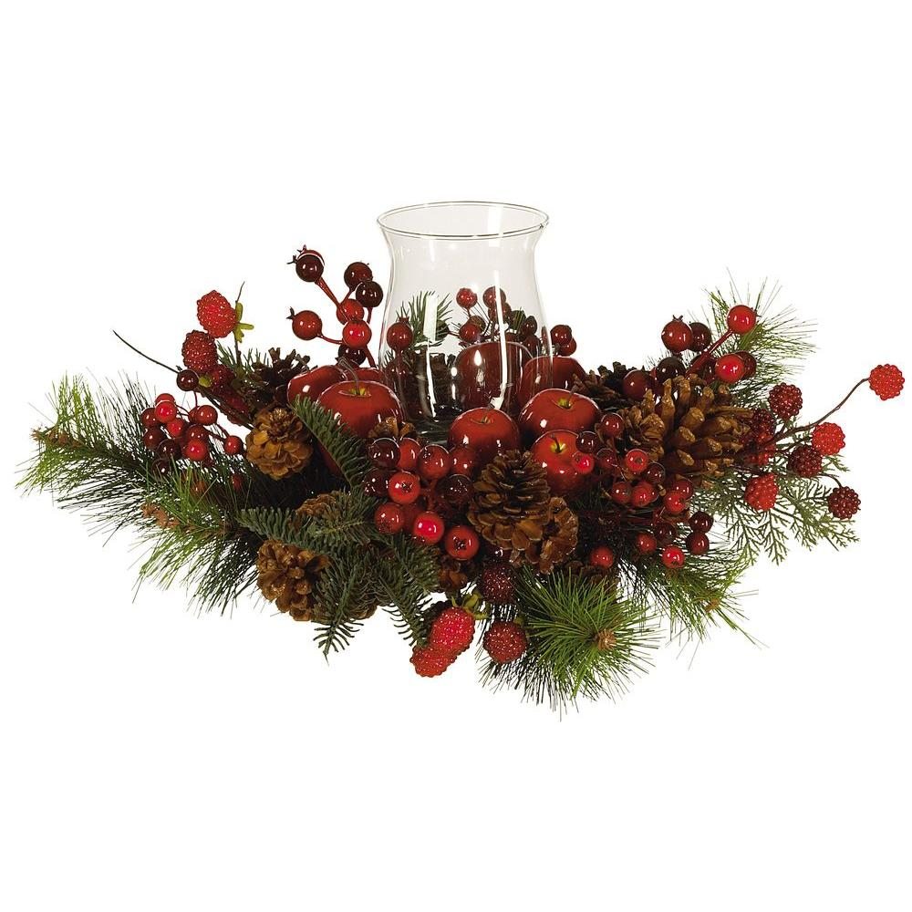 Nearly Natural Holiday Candelabrum Silk Flower Arrangement