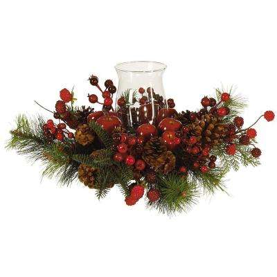 Holiday Candelabrum Silk Flower Arrangement