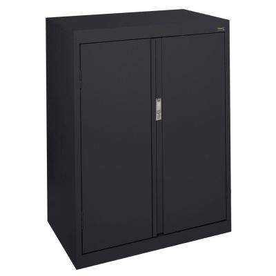 System Series 30 in. W x 42 in. H x 18 in. D Counter Height Storage Cabinet with Fixed Shelves in Black