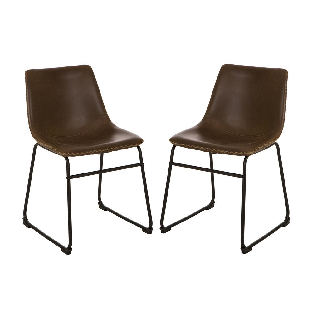 S 2 mid century modern vintage brown leatherette dining chair