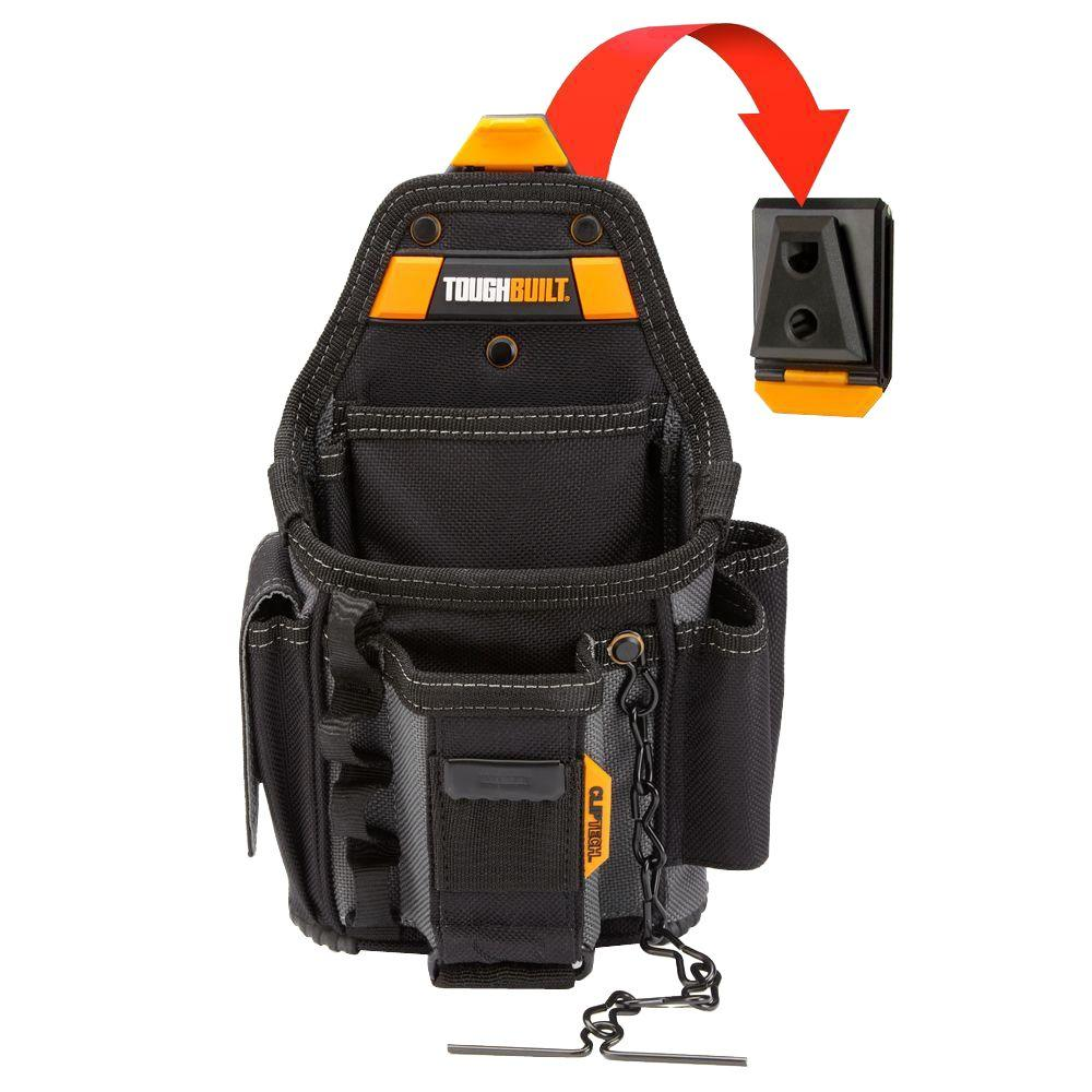 Electrician Tool Organizer Bag Storage Leather Pouch Hammer Flashlight Holder