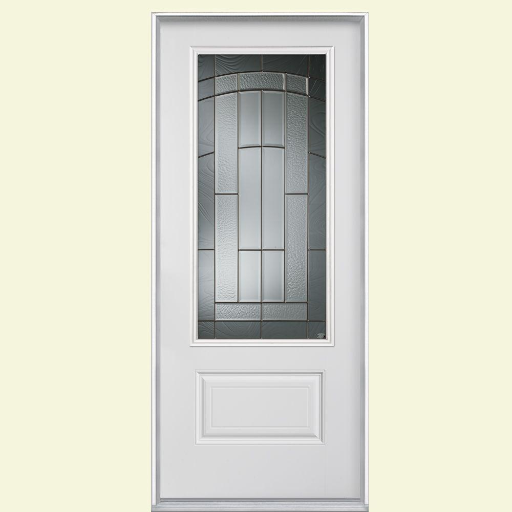 Masonite 36 in. x 80 in. Croxley Three Quarter Rectangle Left Hand Primed Smooth Fiberglass Prehung Front Door with No Brickmold