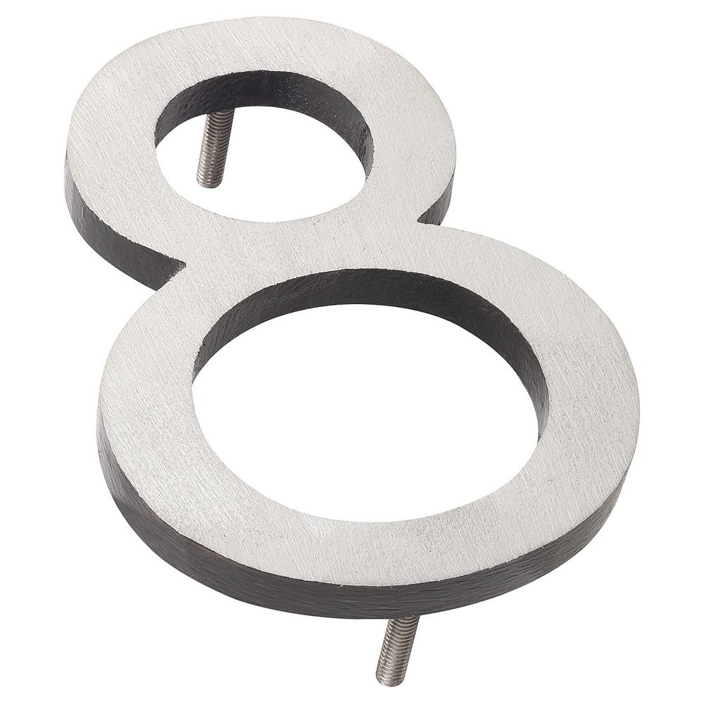 10 in satin nickel black 2 tone aluminum floating or flat modern house number 8 mhn 10 8 f bk2 the home depot