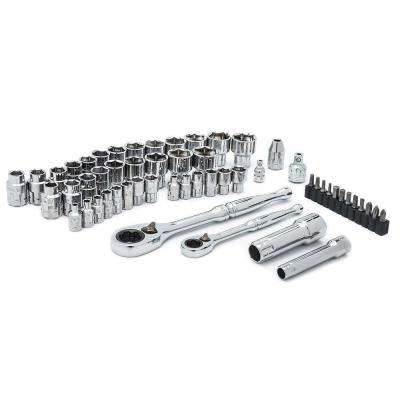 1/4 in. and 3/8 in. Drive SAE and Metric Pass-Thru Mechanics Tool Set (55-Piece)