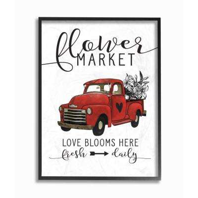 """11 in. x 14 in. """"Flower Market Truck Love Blooms"""" by Lettered and Lined Wood Framed Wall Art"""